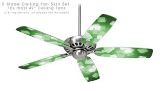 Bokeh Squared Green - Ceiling Fan Skin Kit fits most 42 inch fans (FAN and BLADES SOLD SEPARATELY)
