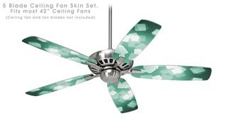 Bokeh Squared Seafoam Green - Ceiling Fan Skin Kit fits most 42 inch fans (FAN and BLADES SOLD SEPARATELY)