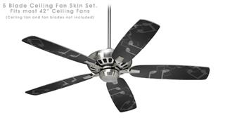 Bokeh Music Grey - Ceiling Fan Skin Kit fits most 42 inch fans (FAN and BLADES SOLD SEPARATELY)