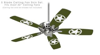 Distressed Army Star - Ceiling Fan Skin Kit fits most 42 inch fans (FAN and BLADES SOLD SEPARATELY)