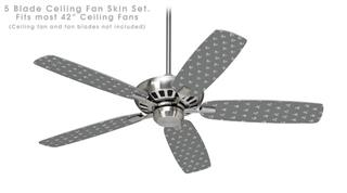 Hearts Gray On White - Ceiling Fan Skin Kit fits most 42 inch fans (FAN and BLADES SOLD SEPARATELY)