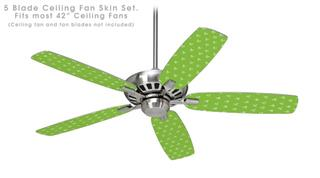 Hearts Green On White - Ceiling Fan Skin Kit fits most 42 inch fans (FAN and BLADES SOLD SEPARATELY)