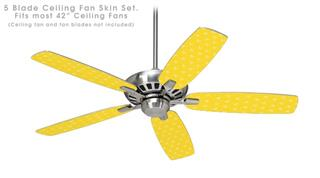 Hearts Yellow On White - Ceiling Fan Skin Kit fits most 42 inch fans (FAN and BLADES SOLD SEPARATELY)