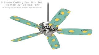 Lemon Teal - Ceiling Fan Skin Kit fits most 42 inch fans (FAN and BLADES SOLD SEPARATELY)