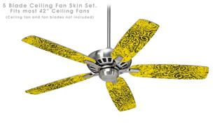 Folder Doodles Yellow - Ceiling Fan Skin Kit fits most 42 inch fans (FAN and BLADES SOLD SEPARATELY)