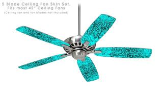 Folder Doodles Neon Teal - Ceiling Fan Skin Kit fits most 42 inch fans (FAN and BLADES SOLD SEPARATELY)