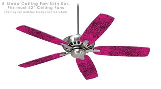 Folder Doodles Fuchsia - Ceiling Fan Skin Kit fits most 42 inch fans (FAN and BLADES SOLD SEPARATELY)