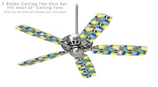 Tropical Fish 01 Seafoam Green - Ceiling Fan Skin Kit fits most 42 inch fans (FAN and BLADES SOLD SEPARATELY)