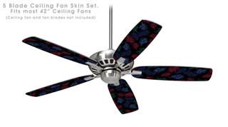 Floating Coral Black - Ceiling Fan Skin Kit fits most 42 inch fans (FAN and BLADES SOLD SEPARATELY)