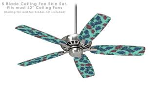 Floating Coral Seafoam Green - Ceiling Fan Skin Kit fits most 42 inch fans (FAN and BLADES SOLD SEPARATELY)