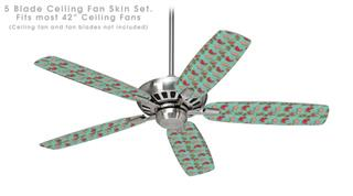 Crabs and Shells Seafoam Green - Ceiling Fan Skin Kit fits most 42 inch fans (FAN and BLADES SOLD SEPARATELY)