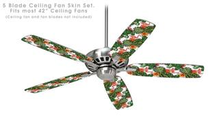 Famingos and Flowers White - Ceiling Fan Skin Kit fits most 42 inch fans (FAN and BLADES SOLD SEPARATELY)
