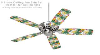 Beach Flowers 02 White - Ceiling Fan Skin Kit fits most 42 inch fans (FAN and BLADES SOLD SEPARATELY)