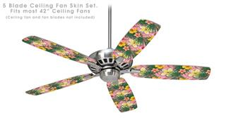 Beach Flowers 02 Pink - Ceiling Fan Skin Kit fits most 42 inch fans (FAN and BLADES SOLD SEPARATELY)