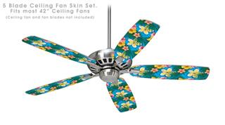 Beach Flowers 02 Blue Medium - Ceiling Fan Skin Kit fits most 42 inch fans (FAN and BLADES SOLD SEPARATELY)