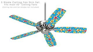 Beach Flowers Blue Medium - Ceiling Fan Skin Kit fits most 42 inch fans (FAN and BLADES SOLD SEPARATELY)