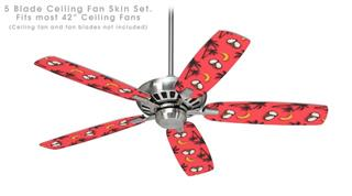 Coconuts Palm Trees and Bananas Coral - Ceiling Fan Skin Kit fits most 42 inch fans (FAN and BLADES SOLD SEPARATELY)