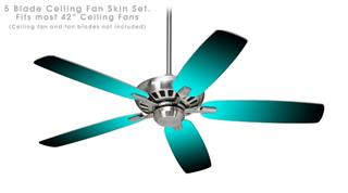 Smooth Fades Neon Teal Black - Ceiling Fan Skin Kit fits most 42 inch fans (FAN and BLADES SOLD SEPARATELY)