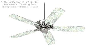 Watercolor Leaves White - Ceiling Fan Skin Kit fits most 42 inch fans (FAN and BLADES SOLD SEPARATELY)