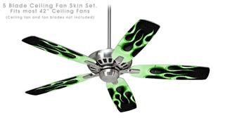 Metal Flames Green - Ceiling Fan Skin Kit fits most 42 inch fans (FAN and BLADES SOLD SEPARATELY)