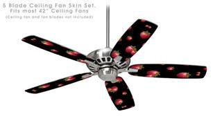 Strawberries on Black - Ceiling Fan Skin Kit fits most 42 inch fans (FAN and BLADES SOLD SEPARATELY)