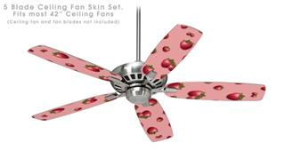 Strawberries on Pink - Ceiling Fan Skin Kit fits most 42 inch fans (FAN and BLADES SOLD SEPARATELY)