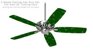 Holly Leaves on Green - Ceiling Fan Skin Kit fits most 42 inch fans (FAN and BLADES SOLD SEPARATELY)