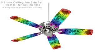 Cute Rainbow Monsters - Ceiling Fan Skin Kit fits most 42 inch fans (FAN and BLADES SOLD SEPARATELY)