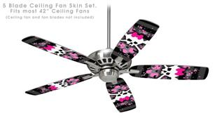 Pink Bow Skull - Ceiling Fan Skin Kit fits most 42 inch fans (FAN and BLADES SOLD SEPARATELY)