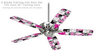Checker Skull Splatter Pink - Ceiling Fan Skin Kit fits most 42 inch fans (FAN and BLADES SOLD SEPARATELY)