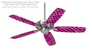 Pink Checkerboard Sketches - Ceiling Fan Skin Kit fits most 42 inch fans (FAN and BLADES SOLD SEPARATELY)