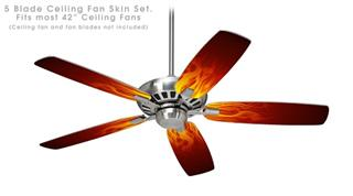 Fire Flames on Black - Ceiling Fan Skin Kit fits most 42 inch fans (FAN and BLADES SOLD SEPARATELY)