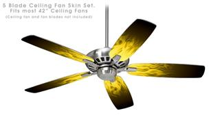 Fire Flames Yellow - Ceiling Fan Skin Kit fits most 42 inch fans (FAN and BLADES SOLD SEPARATELY)