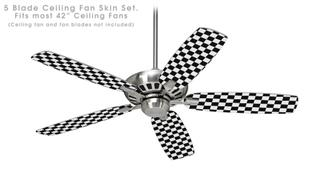 Checkered Canvas Black and White - Ceiling Fan Skin Kit fits most 42 inch fans (FAN and BLADES SOLD SEPARATELY)