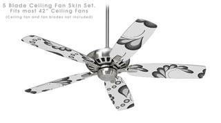Petals Gray - Ceiling Fan Skin Kit fits most 42 inch fans (FAN and BLADES SOLD SEPARATELY)