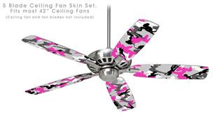 Sexy Girl Silhouette Camo Hot Pink (Fuchsia) - Ceiling Fan Skin Kit fits most 42 inch fans (FAN and BLADES SOLD SEPARATELY)