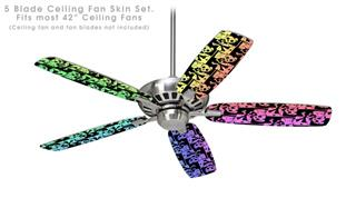 Skull Checker Rainbow - Ceiling Fan Skin Kit fits most 42 inch fans (FAN and BLADES SOLD SEPARATELY)
