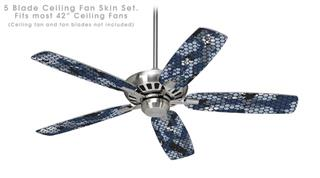 HEX Mesh Camo 01 Blue - Ceiling Fan Skin Kit fits most 42 inch fans (FAN and BLADES SOLD SEPARATELY)