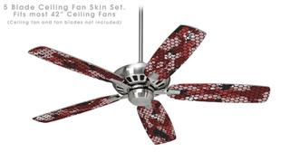 HEX Mesh Camo 01 Red - Ceiling Fan Skin Kit fits most 42 inch fans (FAN and BLADES SOLD SEPARATELY)