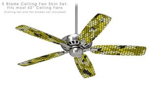 HEX Mesh Camo 01 Yellow - Ceiling Fan Skin Kit fits most 42 inch fans (FAN and BLADES SOLD SEPARATELY)