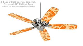 Skull Sketches Orange - Ceiling Fan Skin Kit fits most 42 inch fans (FAN and BLADES SOLD SEPARATELY)