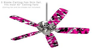 WraptorCamo Digital Camo Hot Pink - Ceiling Fan Skin Kit fits most 42 inch fans (FAN and BLADES SOLD SEPARATELY)