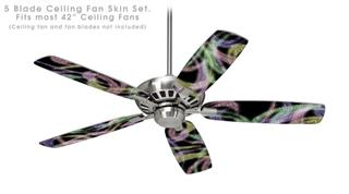 Neon Swoosh on Black - Ceiling Fan Skin Kit fits most 42 inch fans (FAN and BLADES SOLD SEPARATELY)
