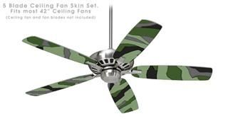 Camouflage Green - Ceiling Fan Skin Kit fits most 42 inch fans (FAN and BLADES SOLD SEPARATELY)
