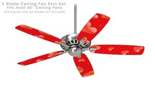 Glass Hearts Red - Ceiling Fan Skin Kit fits most 42 inch fans (FAN and BLADES SOLD SEPARATELY)