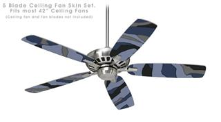 Camouflage Blue - Ceiling Fan Skin Kit fits most 42 inch fans (FAN and BLADES SOLD SEPARATELY)