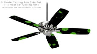 Lots of Dots Green on Black - Ceiling Fan Skin Kit fits most 42 inch fans (FAN and BLADES SOLD SEPARATELY)