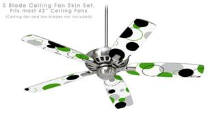 Lots of Dots Green on White - Ceiling Fan Skin Kit fits most 42 inch fans (FAN and BLADES SOLD SEPARATELY)