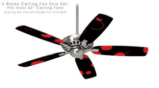 Lots of Dots Red on Black - Ceiling Fan Skin Kit fits most 42 inch fans (FAN and BLADES SOLD SEPARATELY)
