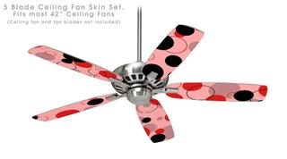 Lots of Dots Red on Pink - Ceiling Fan Skin Kit fits most 42 inch fans (FAN and BLADES SOLD SEPARATELY)